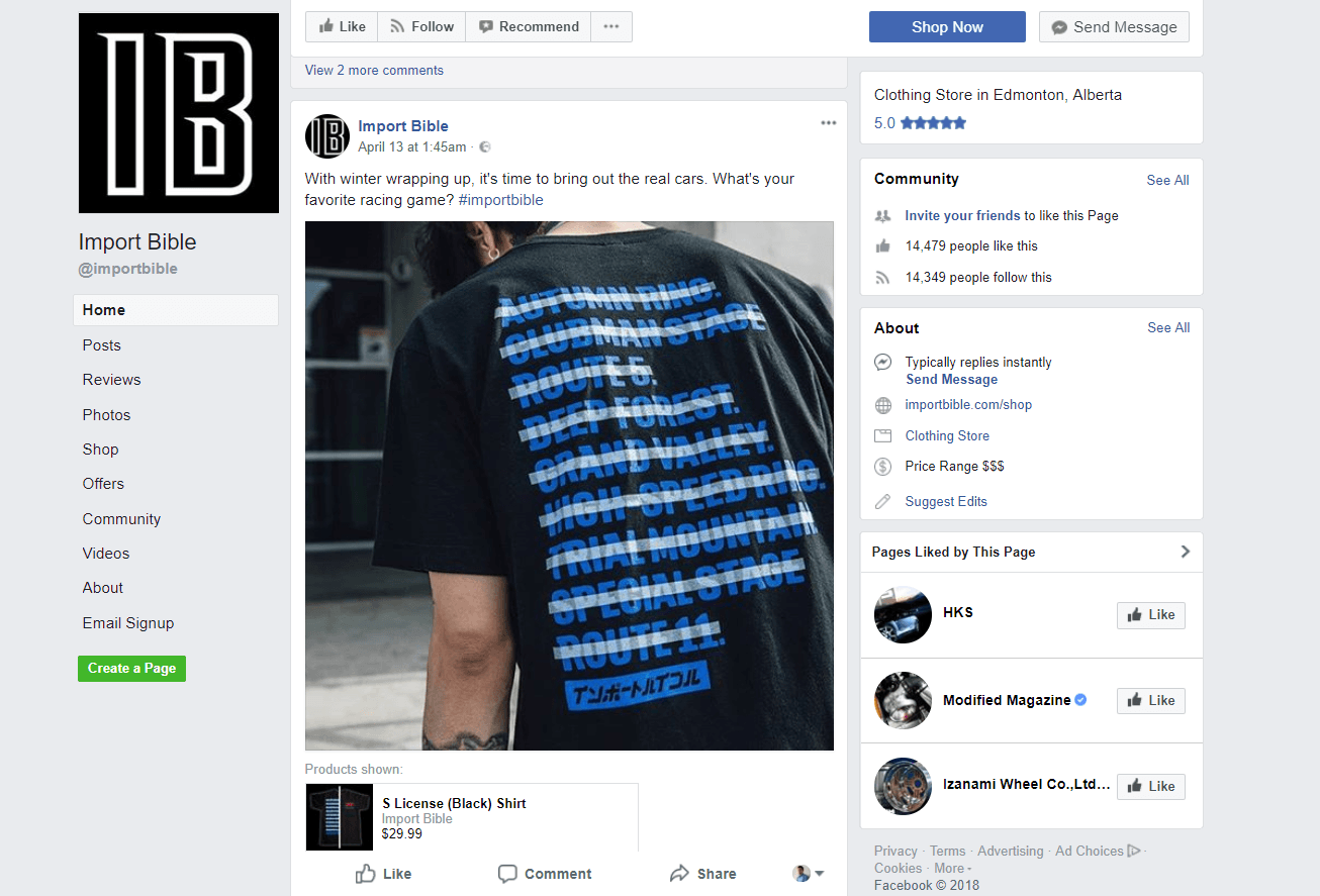 Car T-shirt store, Facebook post