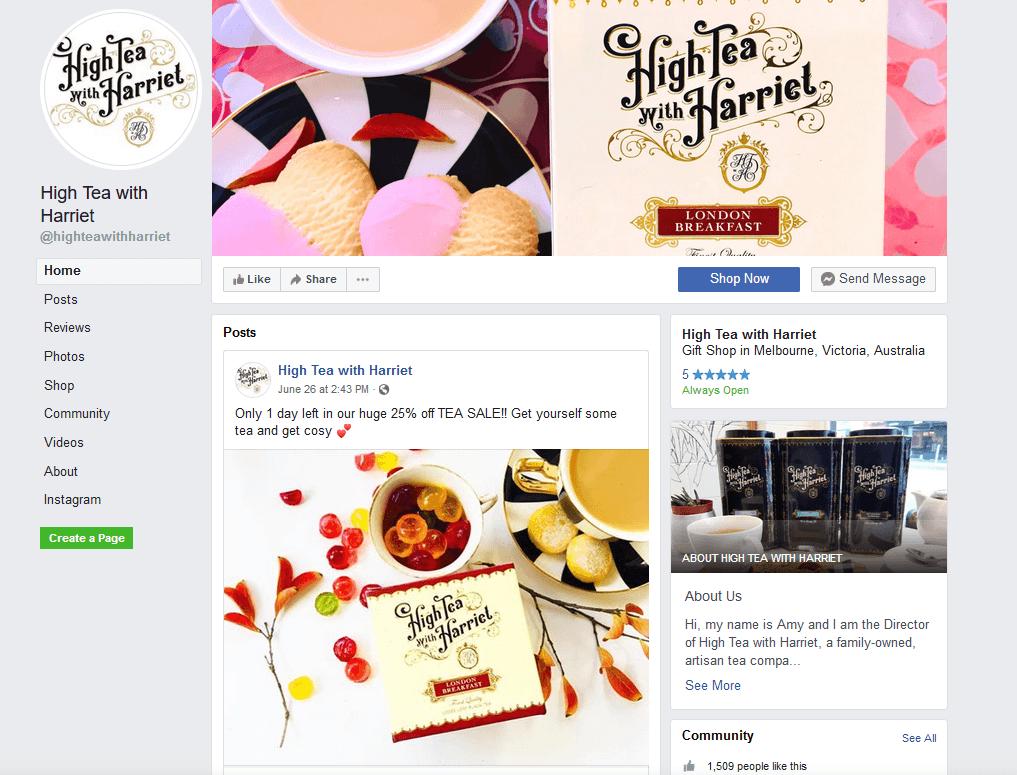 Tea webshop, Facebook #1