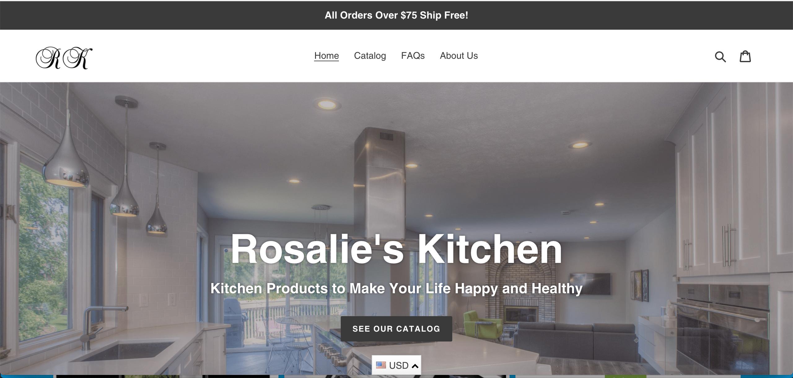E-com kitchen supplies website #1